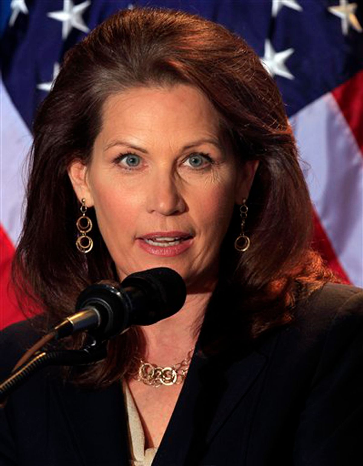 Possible 2012 presidential hopeful, U.S. Rep. Michelle Bachmann, R-Minn. speaks during a dinner sponsored by Americans for Prosperity, Friday, April 29, 2011 in Manchester , N.H. (AP Photo/Jim Cole) (Jim Cole)
