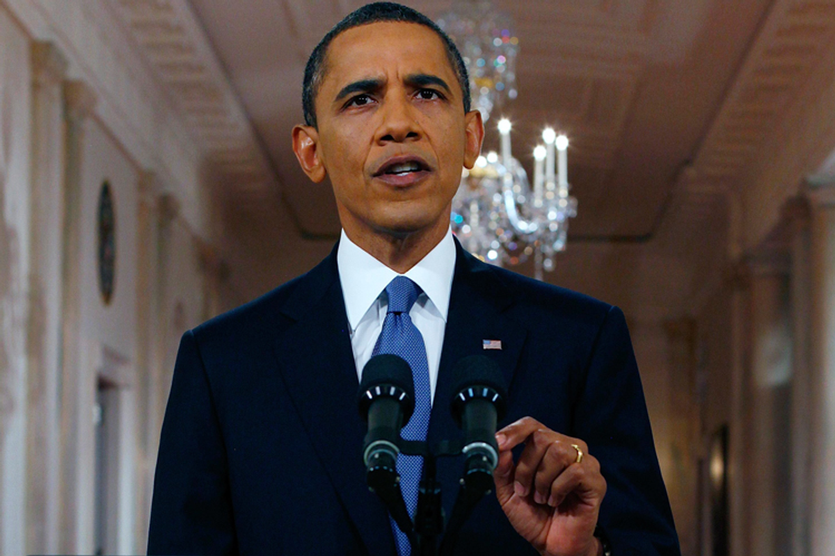 President Obama delivers an address on his plan to drawdown U.S. troops in Afghanistan on Wednesday, June 22, 2011