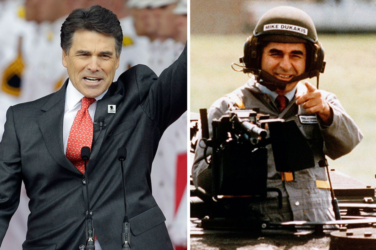 Rick Perry and Michael S. Dukakis