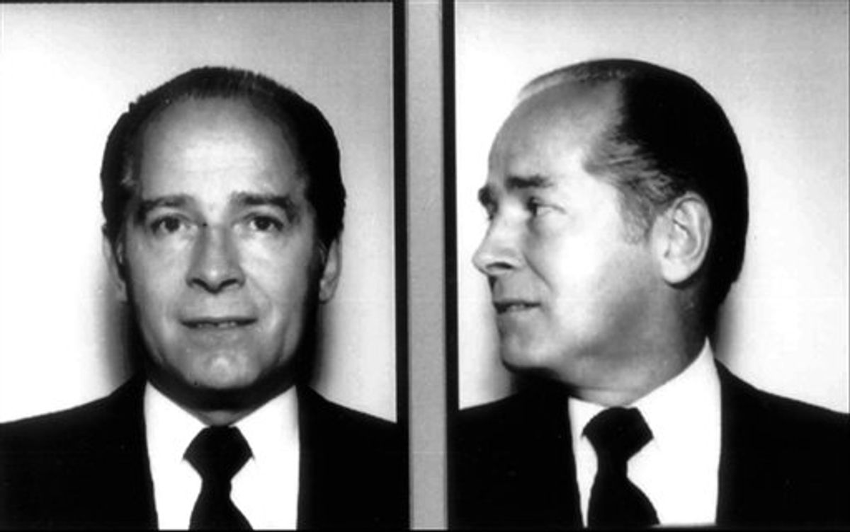 """FILE -  In these 1984 file photos originally released by the FBI, New England organized crime figure James """"Whitey"""" Bulger is shown.  Bulger, a notorious Boston gangster on the FBI's """"Ten Most Wanted"""" list for his alleged role in 19 murders, has been captured near Los Angeles after living on the run for 16 years, authorities said Wednesday June 22, 2011. (AP Photo/Federal Bureau of Investigation, File)  (AP)"""