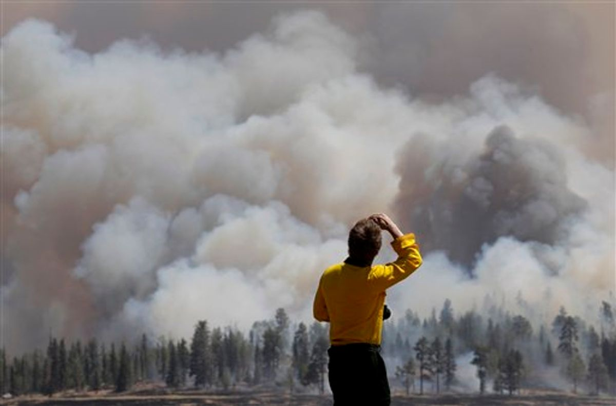 A photographer looks at smoke from a burnout fire as firefighters battle the Wallow Fire in the Apache-Sitgreaves National Forest, Ariz., Sunday, June 12, 2011. Roughly 7,000 residents of two eastern Arizona towns evacuated last week as a wildfire loomed nearby were allowed to return home Sunday as officials expressed confidence that they were making progress in their battle against the huge blaze that has been burning since May. (AP Photo/Jae C. Hong)  (AP)
