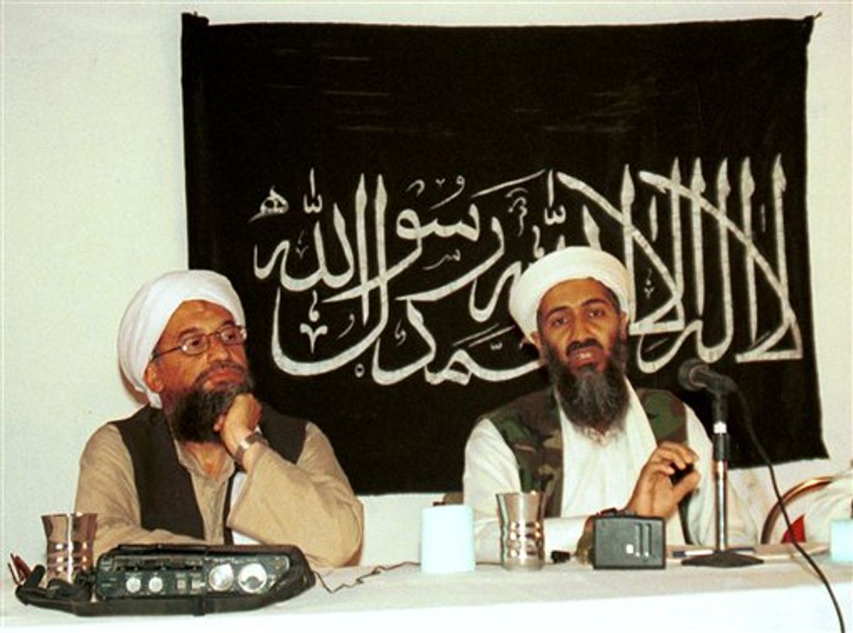 FILE - In this 1998 file photo made available Friday, March 19, 2004, Ayman al-Zawahri, left, holds a press conference with Osama bin Laden in Khost, Afghanistan. Al-Qaida has selected its longtime No. 2, Ayman al-Zawahri, to succeed Osama bin Laden following last month's U.S. commando raid that killed the terror leader, according to a statement posted Thursday, June 16, 2011 on a website affiliated with the network. (AP Photo/Mazhar Ali Khan, File) (AP)