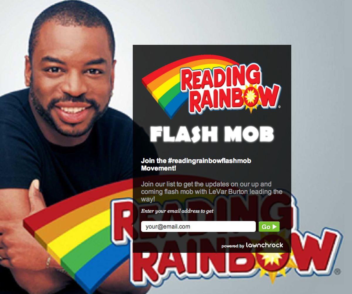 "Former host of ""Reading Rainbow"" LeVar Burton, with the program's old logo."