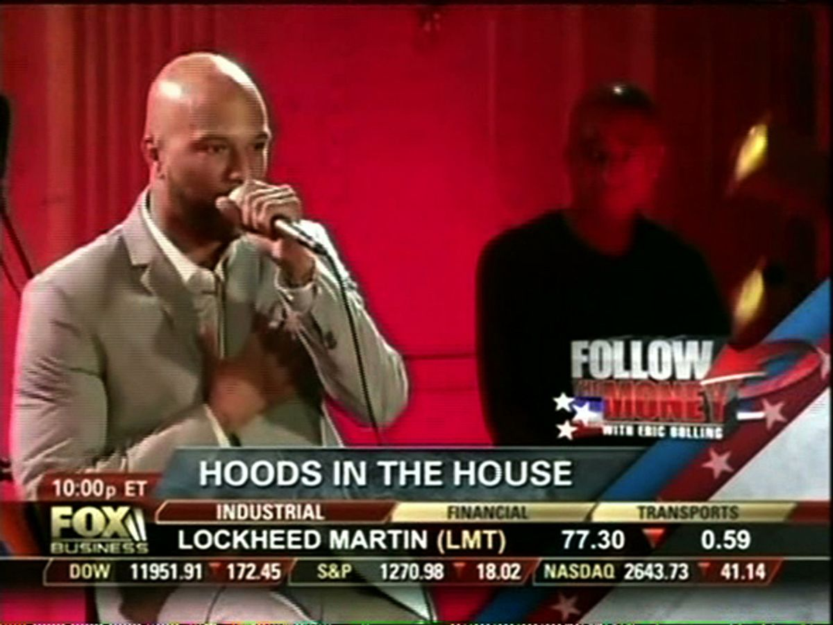 """Still from Fox Business' """"Follow the Money."""" Rapper Common was listed among African American White House guests described by Bolling as """"Hoods in the House"""""""