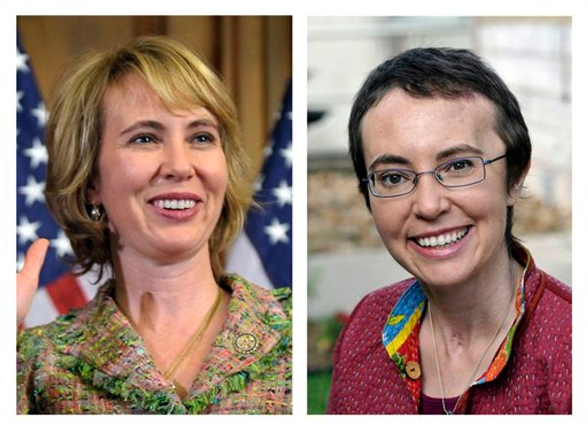This photo combo shows U.S. Rep. Gabrielle Giffords, D-Ariz. At left, Giffords takes part in a reenactment of her swearing-in on Capitol Hill in Washington, on Jan. 5, 2011, three days before she was shot as she met with constituents in Tucson, Ariz. At right, Giffords is seen May 17, 2011, at TIRR Memorial Hermann Hospital in Houston, the day after the launch of space shuttle Endeavour and the day before she had her cranioplasty. Giffords has been released from a Houston hospital, Wednesday, June 15, 2011, five months after being shot in the head during a Tucson political event.  (AP Photo/Susan Walsh/P.K. Weis) MANDATORY CREDIT (AP)