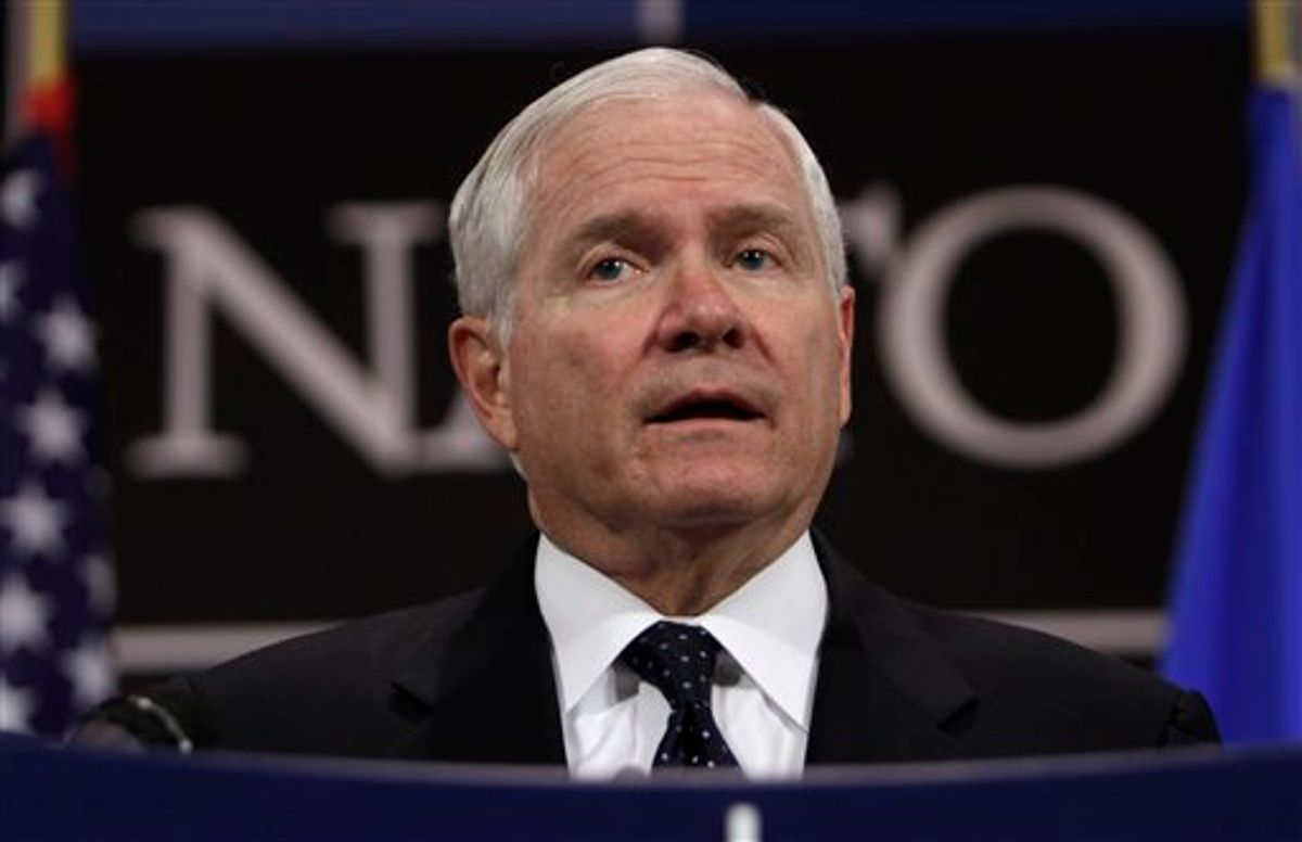 U.S. Defense Secretary Robert Gates speaks during a media conference after a meeting of NATO defense ministers at NATO headquarters in Brussels on Thursday, June 9, 2011. NATO defense ministers shift their focus from Libya to Afghanistan during talks on Thursday. (AP Photo/Virginia Mayo) (AP)