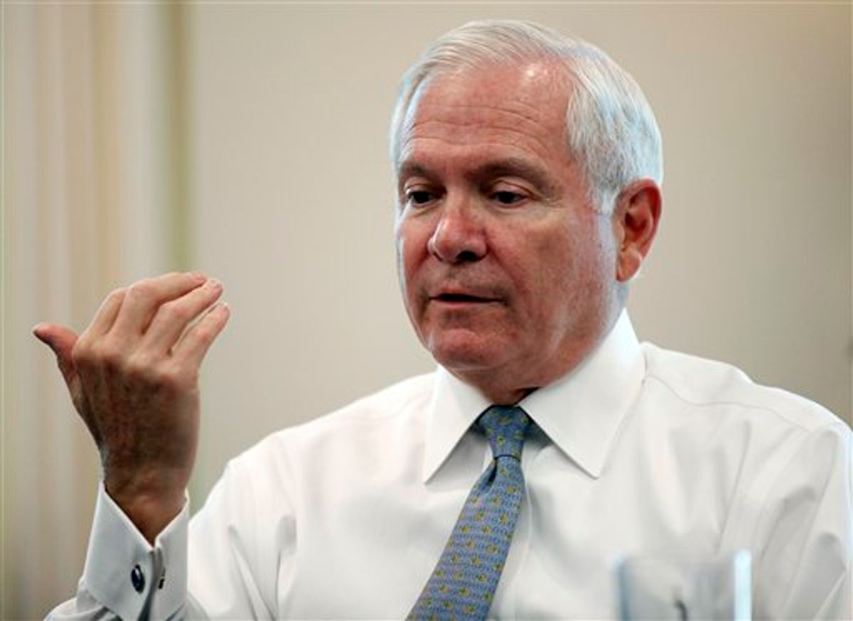 Secretary of Defense Robert Gates, speaks during an interview with The Associate Press in his office at the Pentagon Monday, June 13, 2011 in Washington.(AP Photo/Alex Brandon)  (AP)