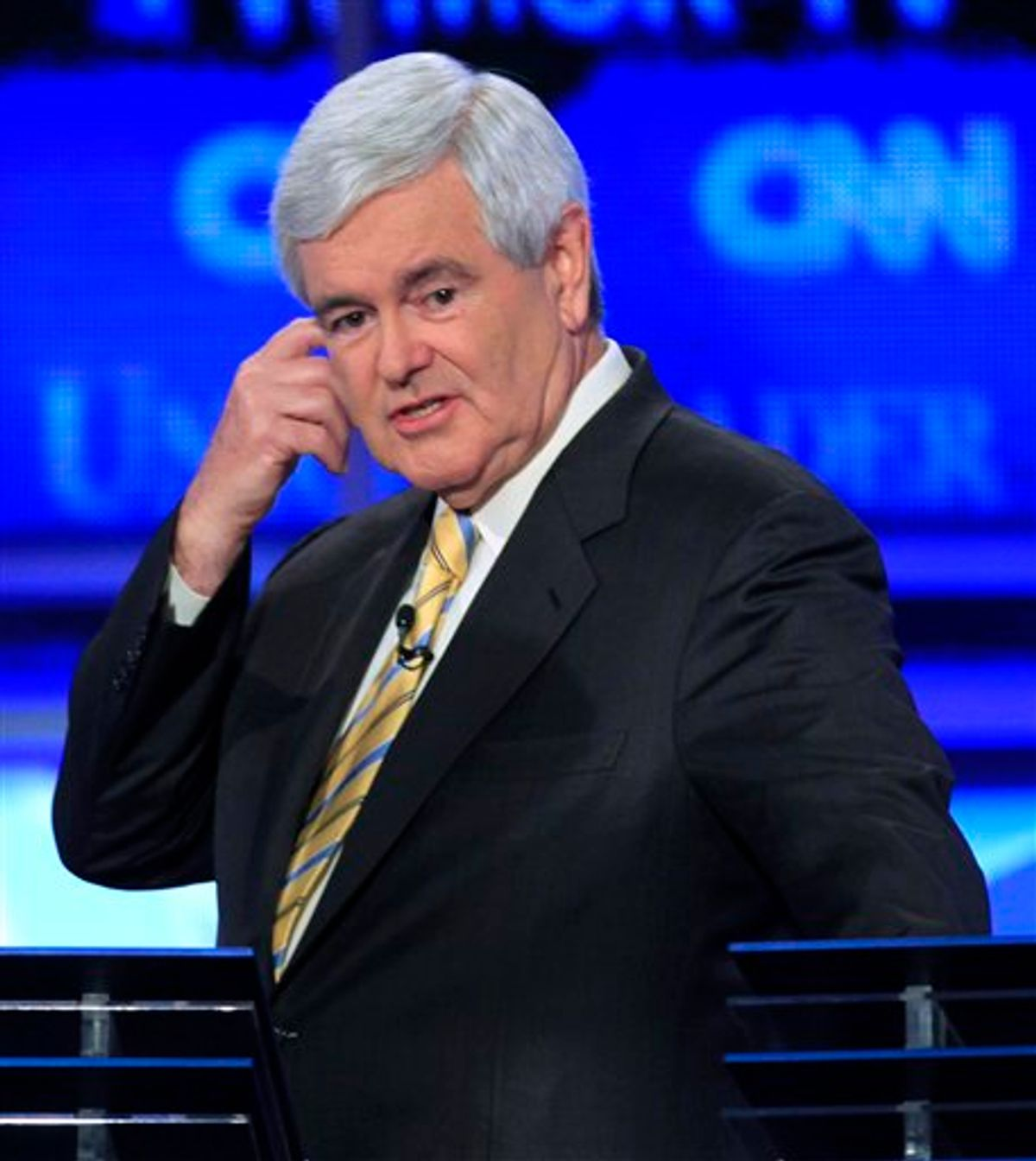 Former House Speaker Newt Gingrich is seen during a break in the first New Hampshire Republican presidential debate at St. Anselm College in Manchester, N.H., Monday, June 13, 2011. (AP Photo/Jim Cole) (AP)