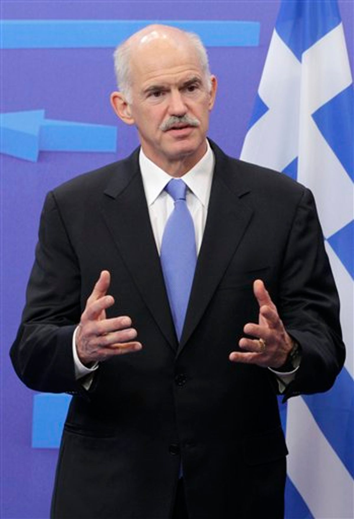 Greek Prime Minister George Papandreou addresses the media at the European Council building in Brussels, Monday, June 20, 2011. Greece's embattled Prime Minister headed to Brussels for meetings with EU President Herman Van Rompuy and European Commission President Jose Manuel Barroso. (AP Photo/Yves Logghe) (AP)