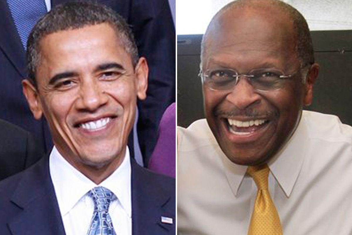 Barack Obama and Herman Cain
