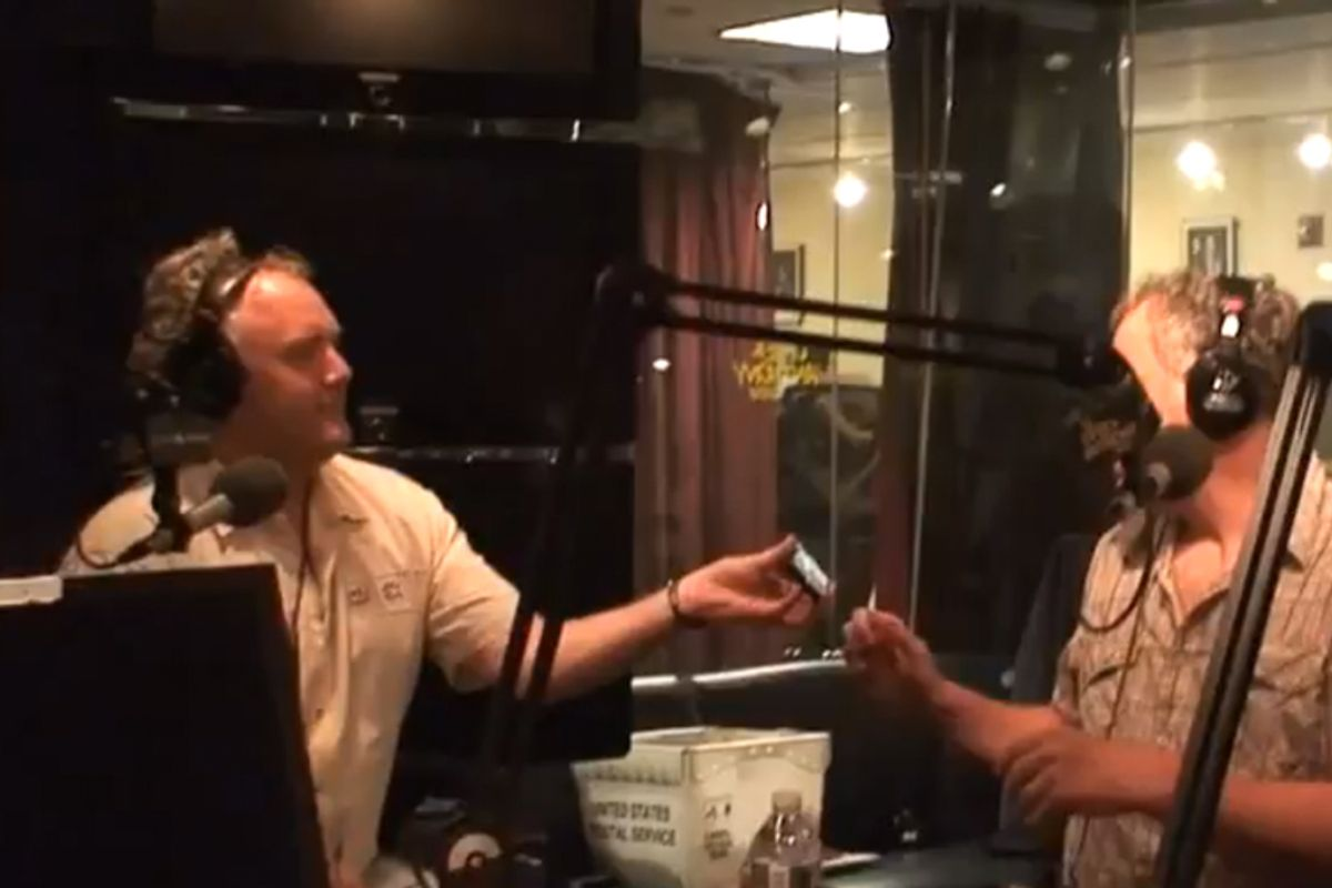 Andrew Breitbart, paragon of decency, shows Vincent D'Onofrio a photo of Anthony Weiner's penis