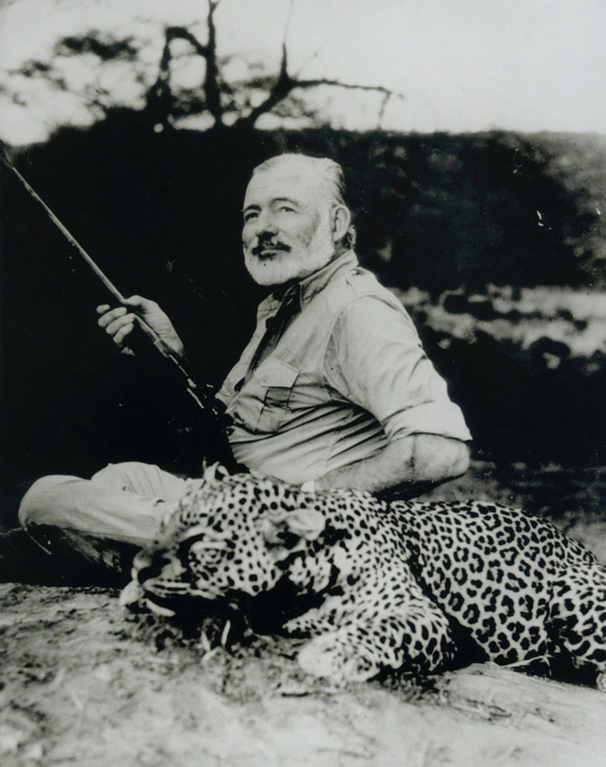Ernest Hemingway poses with a dead leopard in 1953, part of an exhibit of Hemingway photos to celebrate his 100th birthday on display at Washington's National Portrait Gallery through Nov. 7, 1999. Hemingway, who killed himself three weeks before his 61st birthday, would have been 100 on July 21. (AP Photo/National Portrait Gallery, Earl Theisen)  (Earl Theisen)