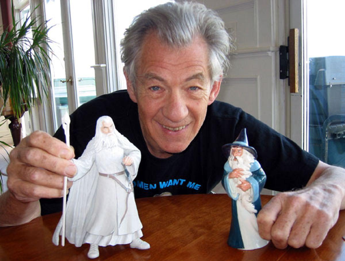 Ian McKellen plays with dolls.