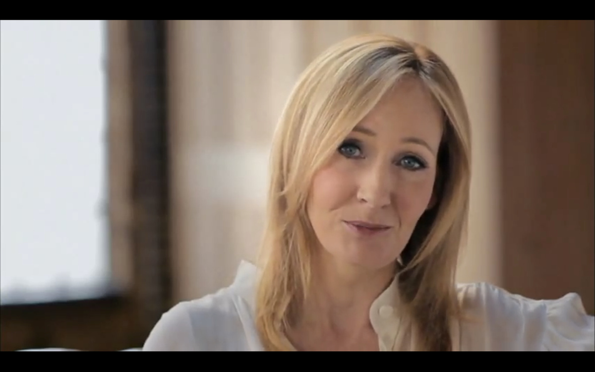 """J.K. Rowling announcing """"Pottermore"""" in a YouTube video."""