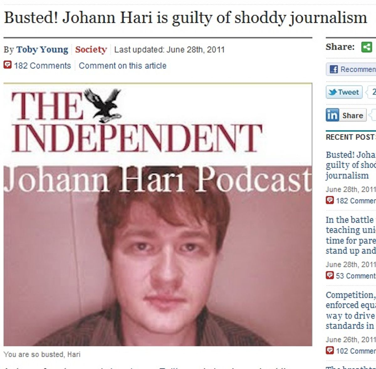 Toby Young, in the Telegraph, calls out Johann Hari of the Independent