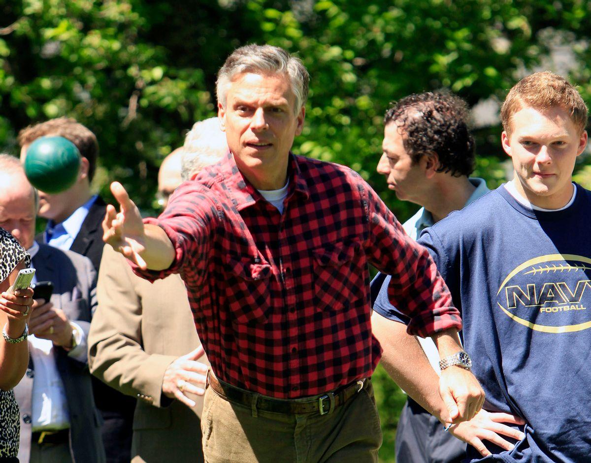 Possible 2012 presidential hopeful, former Republican Gov. Jon Huntsman, Jr., of Utah plays Bocci Saturday, June 4, 2011 in Gorham, N.H. (AP Photo/Jim Cole) (Associated Press)