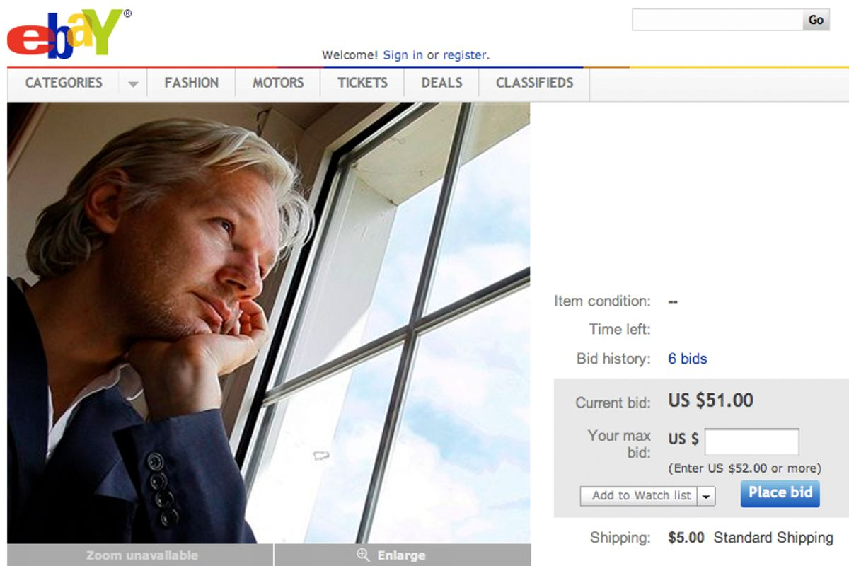 Julian Assange for sale on Ebay.