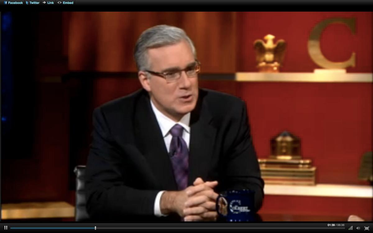 "Keith Olbermann on Wednesday night's ""Colbert Report."""