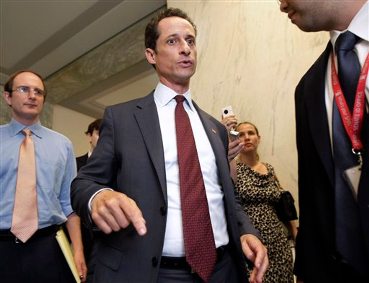 Rep. Anthony Weiner, D-N.Y. walks from his office to an elevator in the Rayburn House Office Building for a vote, on Capitol Hill in Washington, Wed., June 1, 2011. Weiner denied Wednesday sending a lewd photo from his Twitter account to a 21-year-old woman, trying to calm a media furor that has only increased by the day and wasn't put to rest by the combative lawmaker's latest comments.  (AP Photo/J. Scott Applewhite) (AP)