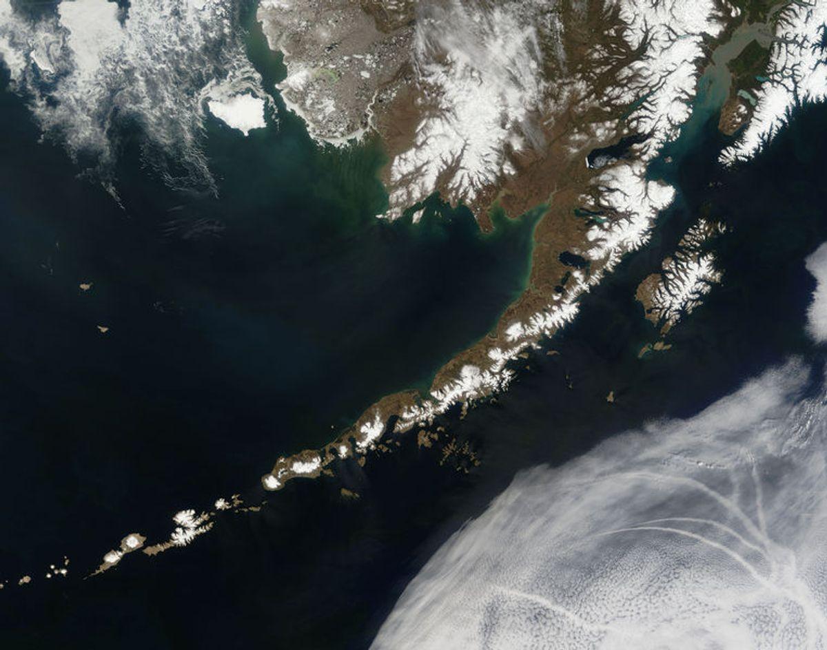 The Aleutian Islands and the Alaska Peninsula.