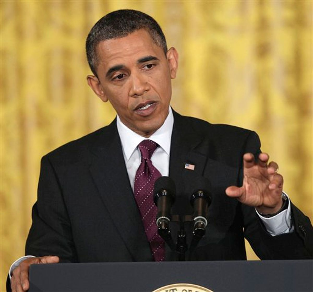 President Barack Obama gestures during a news conference in the East Room of the White House in Washington, Wednesday, June 29, 2011. (AP Photo/Carolyn Kaster) (AP)