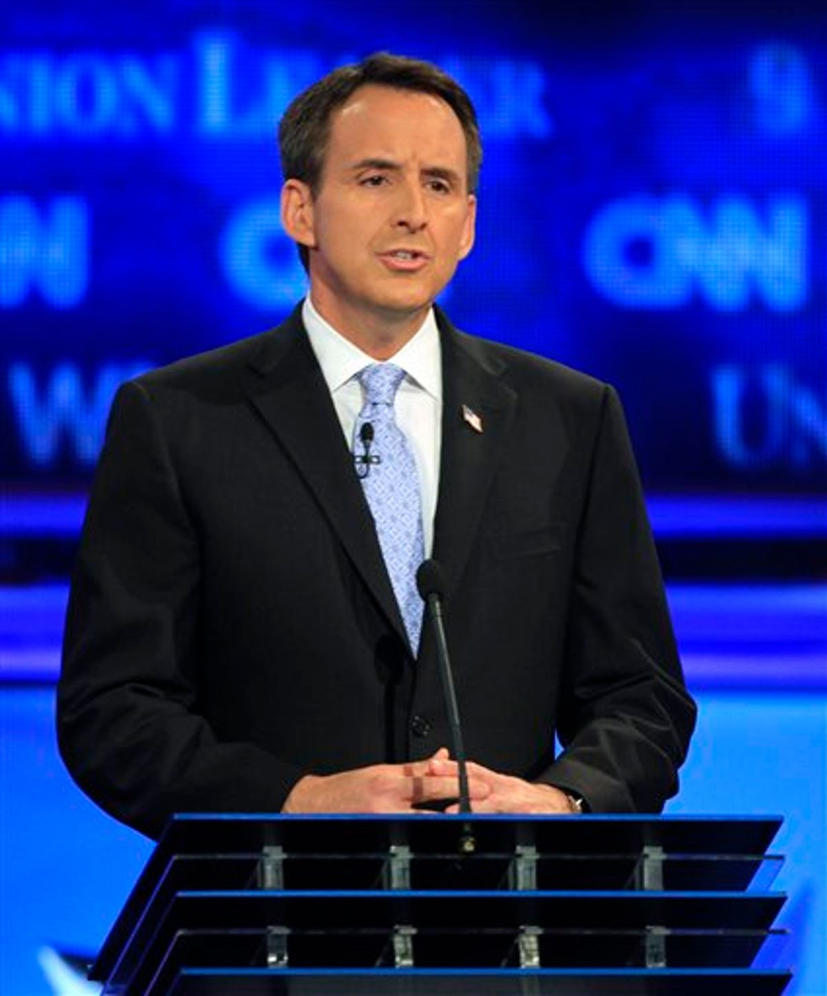 Former Minnesota Gov. Tim Pawlenty answers a question during the first New Hampshire Republican presidential debate at St. Anselm College in Manchester, N.H., Monday, June 13, 2011. (AP Photo/Jim Cole) (AP)
