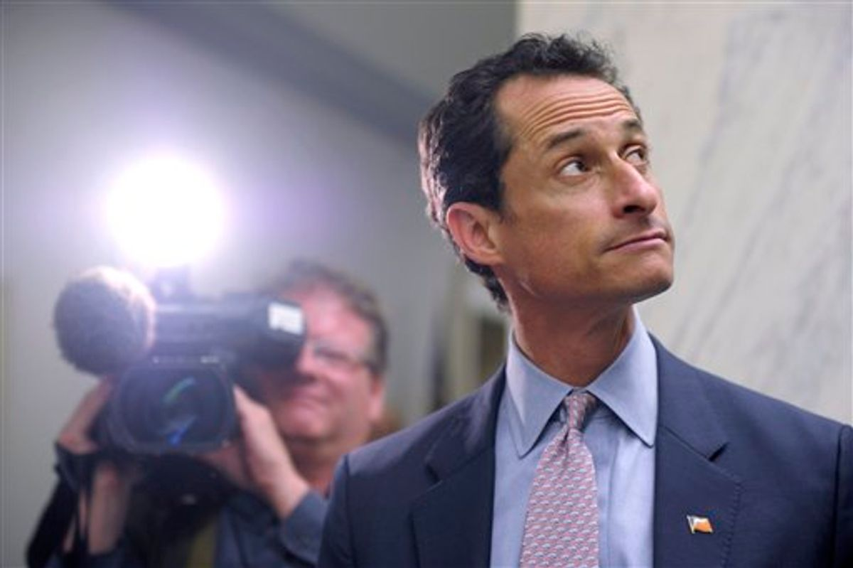 Rep. Anthony Weiner, D-N.Y., waits for an elevator near his office on Capitol Hill in Washington, Thursday, June 2, 2011. (AP Photo/Susan Walsh) (AP)
