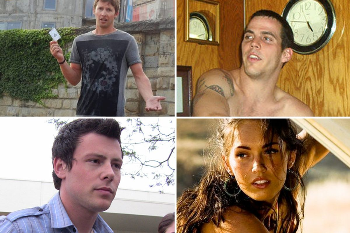 """Clockwise, top left: James Blunt, Steve-O (Photo by <a href='http://www.flickr.com/photos/freschwill/41308092/'>Will Fresch</a>), Megan Fox from """"Transformers,"""" Corey Montieth (Photo by <a href='http://www.flickr.com/photos/watchwithkristin/3524843282/'>Kristin Dos Santos</a>)"""