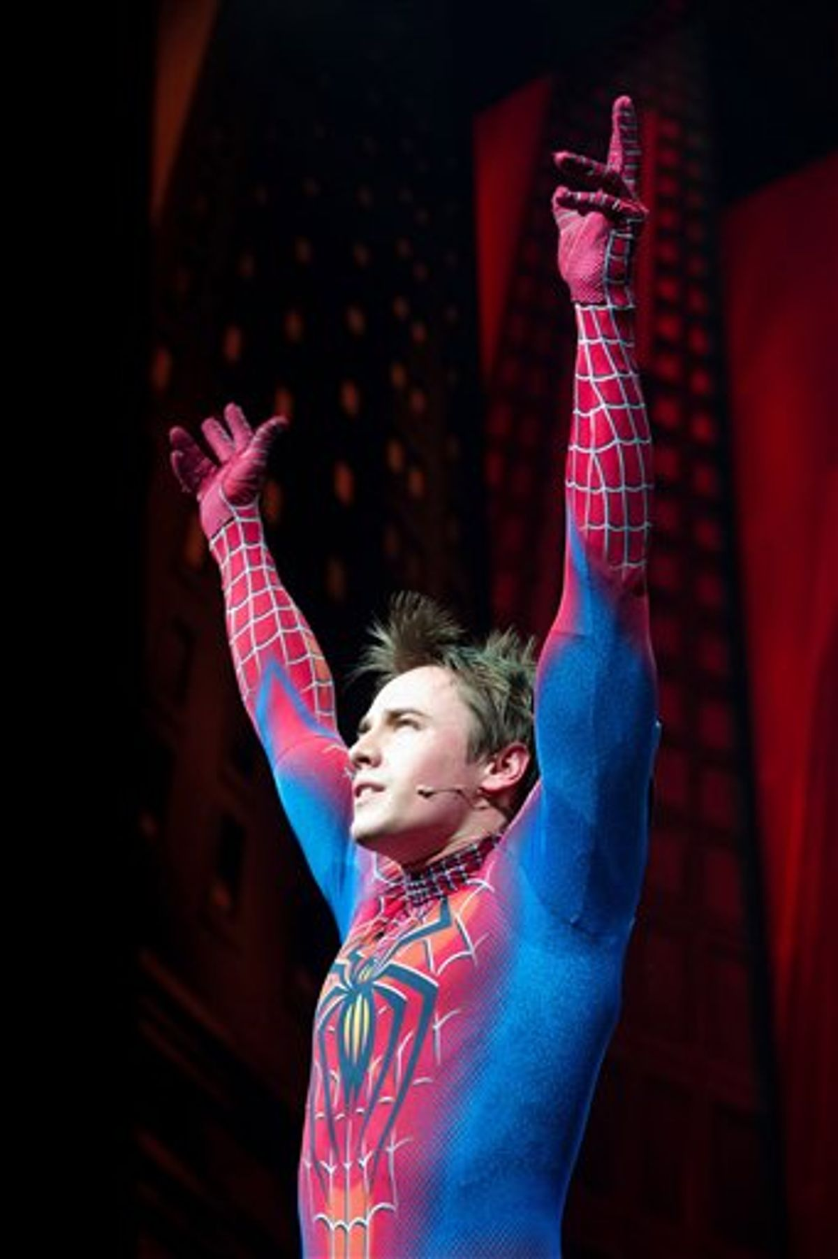"""Reeve Carney appears onstage at the curtain call for the opening night performance of the Broadway musical Spider-Man Turn Off the Dark"""" in New York, Tuesday, June 14, 2011. (AP Photo/Charles Sykes)  (AP)"""