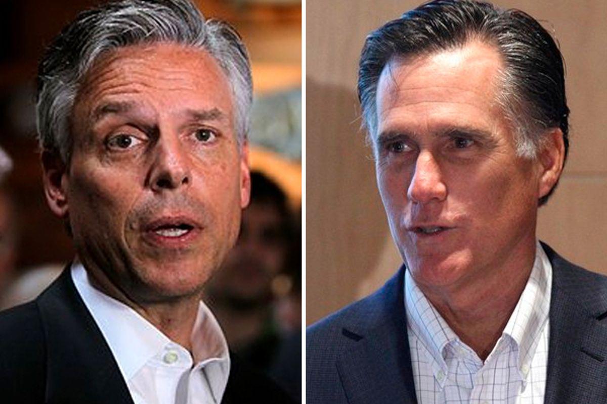 Presidential candidates Jon Huntsman and Mitt Romney.