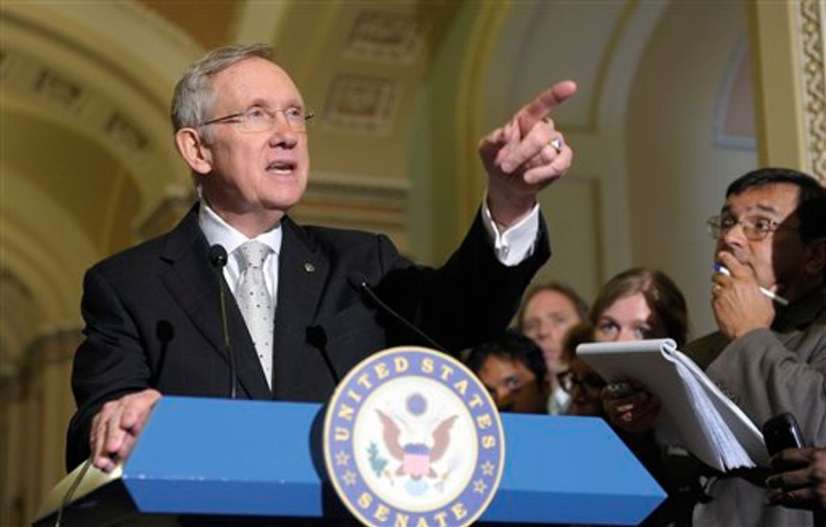 Senate Majority Leader Harry Reid of Nev. speaks to reporters on Capitol Hill in Washington, Tuesday, June 21, 2011, after the policy lunches. (AP Photo/Susan Walsh)   (AP)