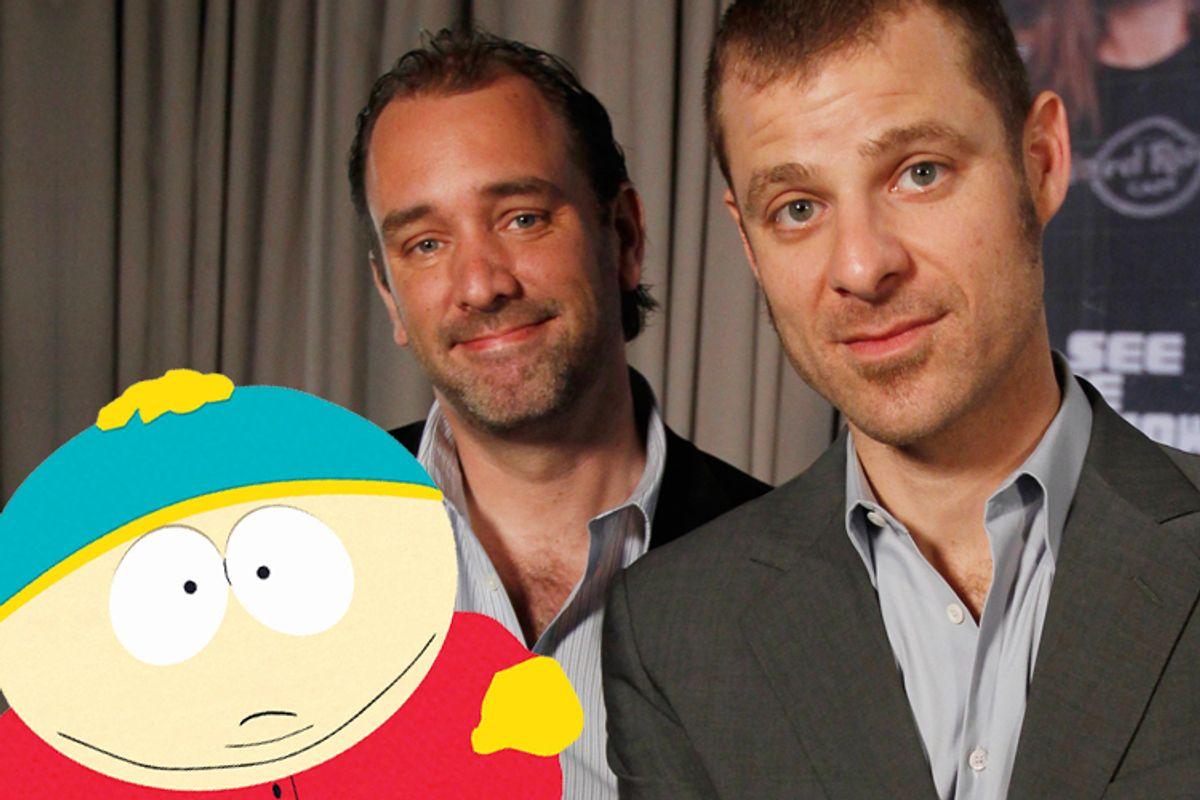 "Uh, you guyyyyyssss....It's Cartman, Trey Parker and Matt Stone of ""South Park."""