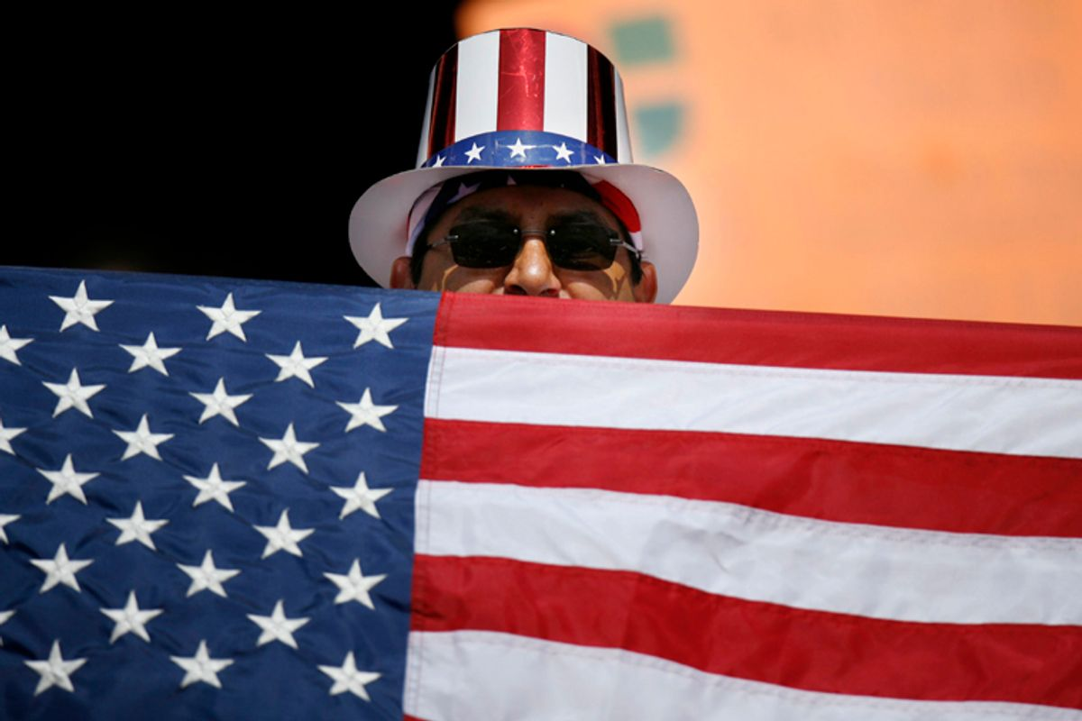 A U.S. fan shows his spirit during their CONCACAF Gold Cup final soccer match between the USA and Mexico in East Rutherford, New Jersey, July 26, 2009.     REUTERS/Lucas Jackson (UNITED STATES SPORT SOCCER)  (© Lucas Jackson / Reuters)