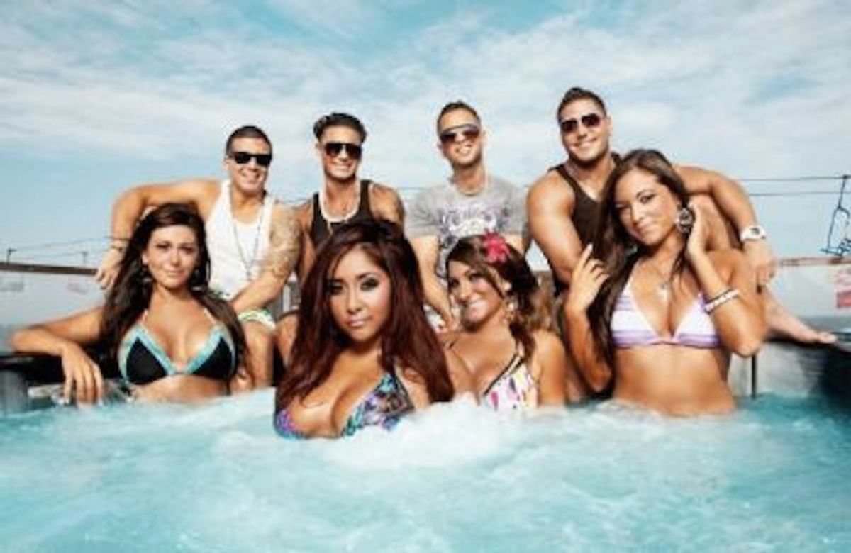 """The cast of """"Jersey Shore,"""" pre-disastrous Italy."""