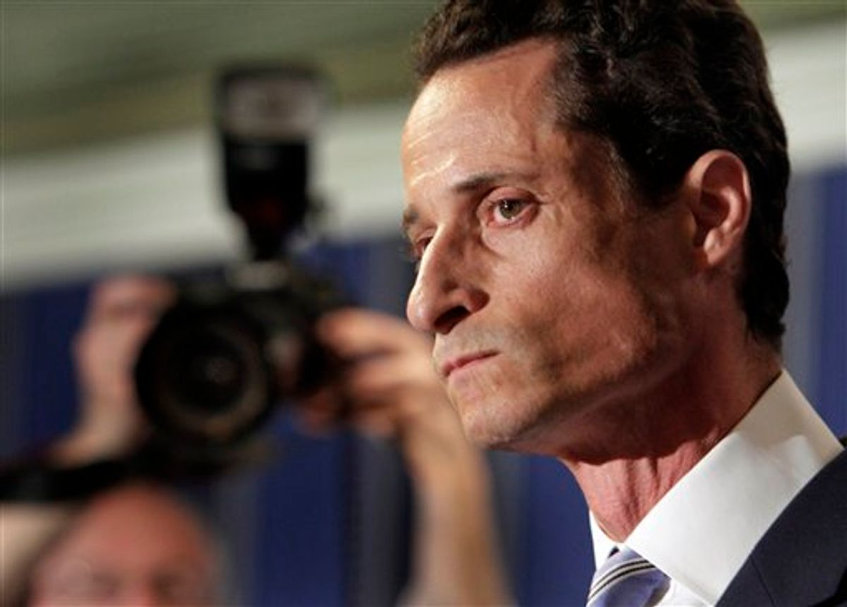 """U.S. Rep. Anthony Weiner, D-N.Y., addresses a news conference in New York,  Monday, June 6, 2011. After days of denials, a choked-up New York Democratic Rep. Anthony Weiner confessed Monday that he tweeted a bulging-underpants photo of himself to a young woman and admitted to """"inappropriate"""" exchanges with six women before and after getting married. (AP Photo/Richard Drew) (AP)"""