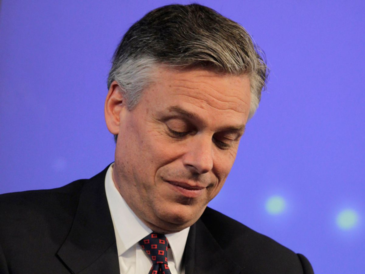 Former Utah Governor Jon Huntsman speaks at an event hosted by Thomson Reuters in New York, June 14, 2011. Huntsman will announce his bid for the White House next Tuesday, bringing a moderate Republican and expert on America's fastest growing competitor into the race to challenge President Barack Obama in 2012.   REUTERS/Brendan McDermid (UNITED STATES - Tags: POLITICS) (© Brendan Mcdermid / Reuters)