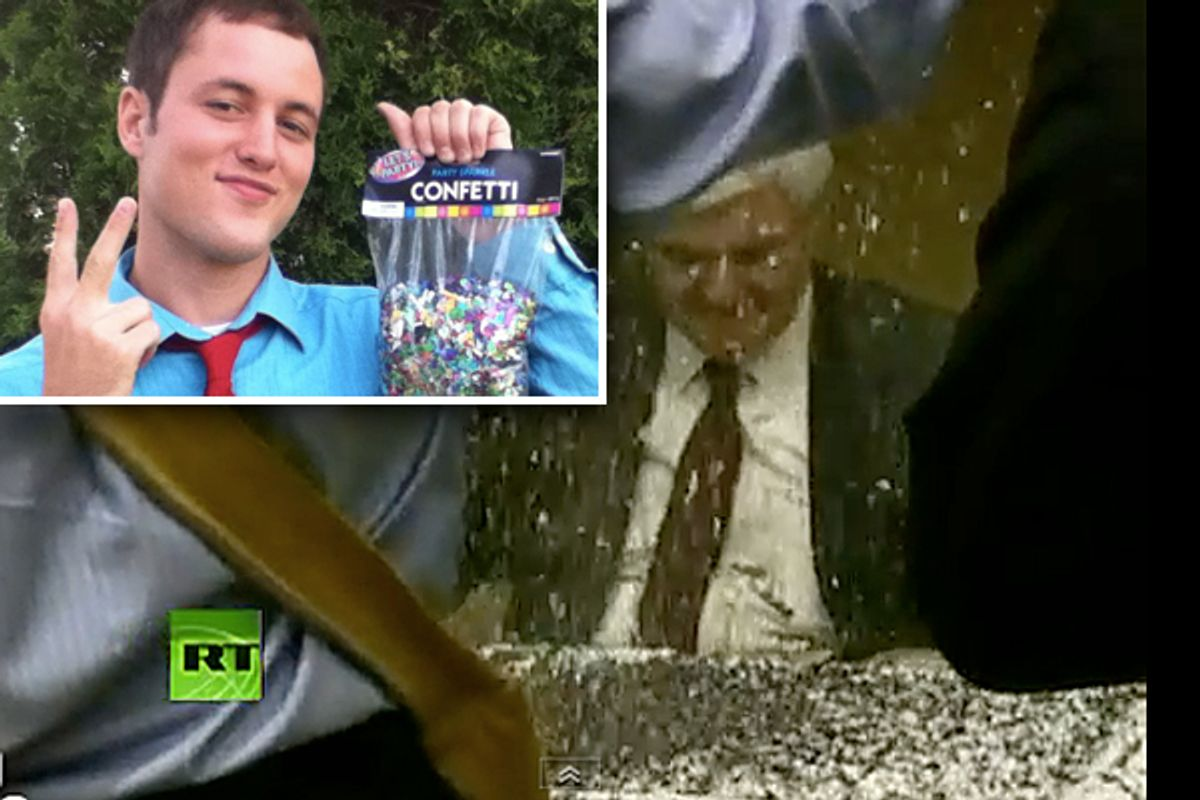 Nick Espinosa (inset) and a glitter-bombed Newt Gingrich