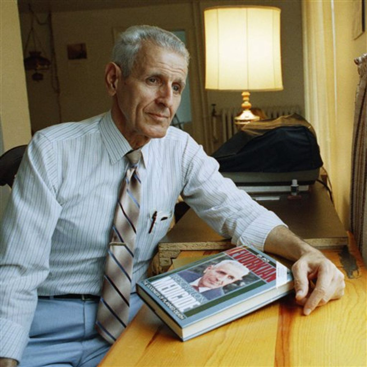 FILE  In this Aug. 10, 1991 photo, Dr. Jack Kevorkian, inventor of the controversial suicide machine, sits with his just release book, Prescription: Medicide,  in Royal Oak, Mich.  A lawyer and friend of  Kevorkian says the assisted suicide advocate has died at a Detroit-area hospital at the age of 83.  Mayer Morganroth tells The Associated Press that Kevorkian died Friday, June 3, 2011 at William Beaumont Hospital in Royal Oak, where he had been hospitalized.    Kevorkian had been hospitalized since last month with pneumonia and kidney problems.  (AP Photo/Lennox McLendon) (AP)