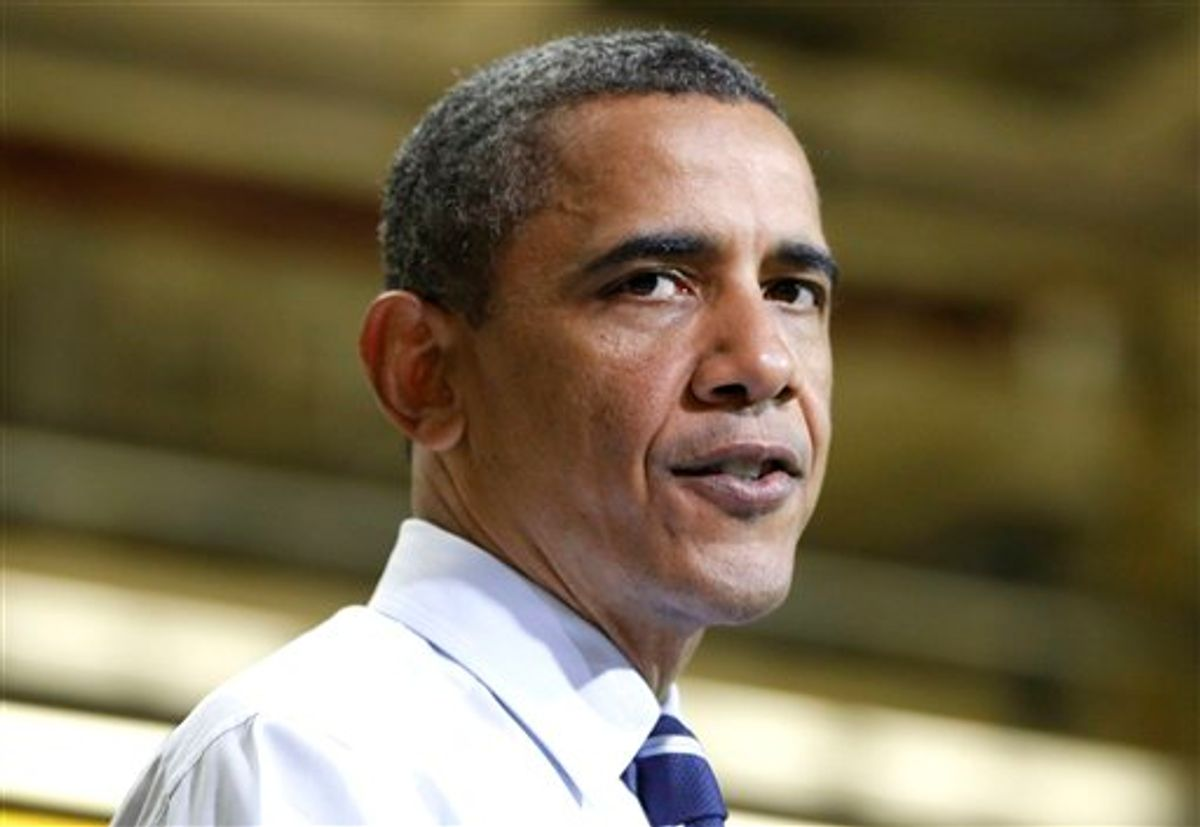 President Barack Obama addresses workers after his tour of Chrysler Group's Toledo Supplier Park in Toledo, Ohio, Friday, June 3, 2011. (AP Photo/Charles Dharapak) (AP)