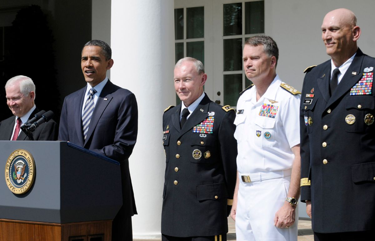 U.S. President Barack Obama (from 2nd L-R) smiles as he names U.S. Army General Martin Dempsey his pick to be the next chairman of the Joint Chiefs of Staff, U.S. Navy Admiral Sandy Winnefeld to be the new vice chairman of the Joint Chiefs, and General Ray Odierno to be the new Chief of Staff of the Army in an announcement in the Rose Garden at the White House in Washington, May 30, 2011. Also pictured is Defense Secretary Robert Gates (L).  REUTERS/Jonathan Ernst   (UNITED STATES - Tags: POLITICS MILITARY)    (© Jonathan Ernst / Reuters)
