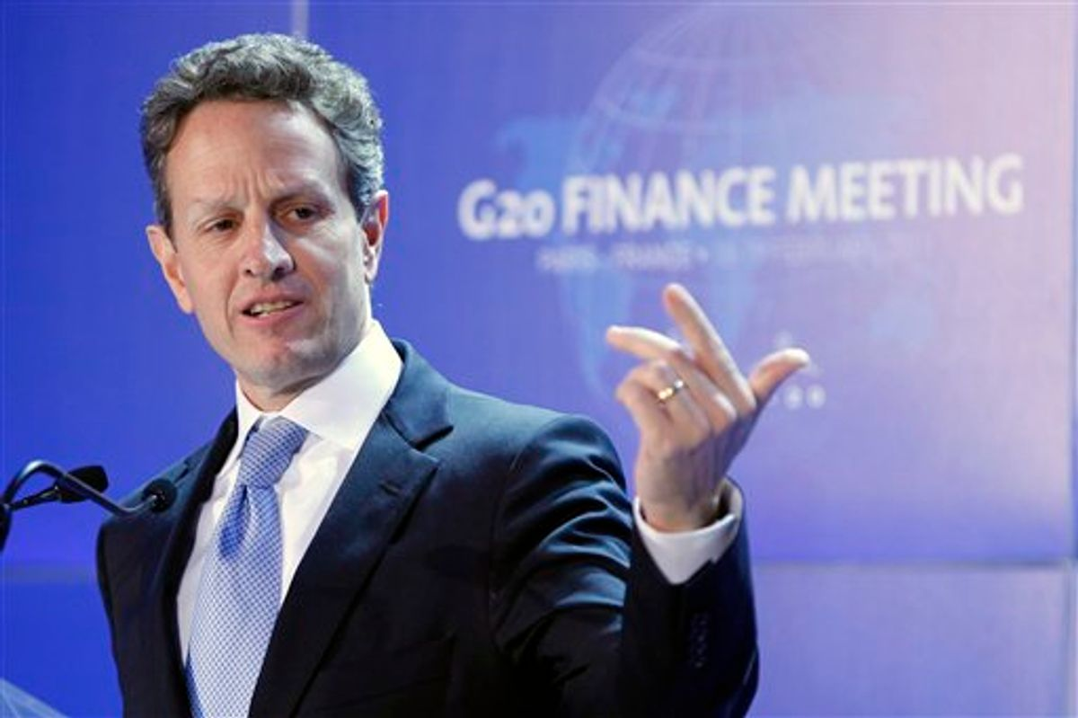 FILE - In this Feb. 19, 2011, file photo U.S. Treasury Secretary Timothy Geithner answers questions at the closing press conference of the G20 Finance summit in Paris. Five years and one financial crisis since the United States and China commenced regular high-level economic talks, fast-growing Beijing might have the upper hand Monday, May 9, 2011, in the latest round of discussions between the world's two biggest economies. While analysts don't foresee major breakthroughs at the talks Monday and Tuesday, China's expanding economic might will give it greater leverage now. (AP Photo/Francois Mori, File)  (AP)