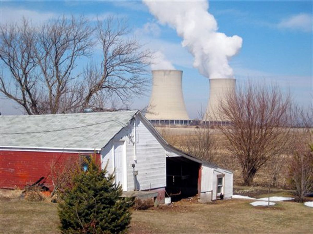 This March 16, 2011 photo shows steam rising from cooling towers at Exelon Corp.'s nuclear plant in Byron, Ill. Illinois has six nuclear plants, with a total of 11 reactors, more than any other state in the U.S. in 2010. Exelon, which has acknowledged violating Illinois state groundwater standards, agreed to pay $1.2 million to settle state and county complaints over the tritium leaks in Illinois' Braidwood, Dresden and Byron sites. The NRC also sanctioned Exelon. (AP Photo/Robert Ray) (AP)