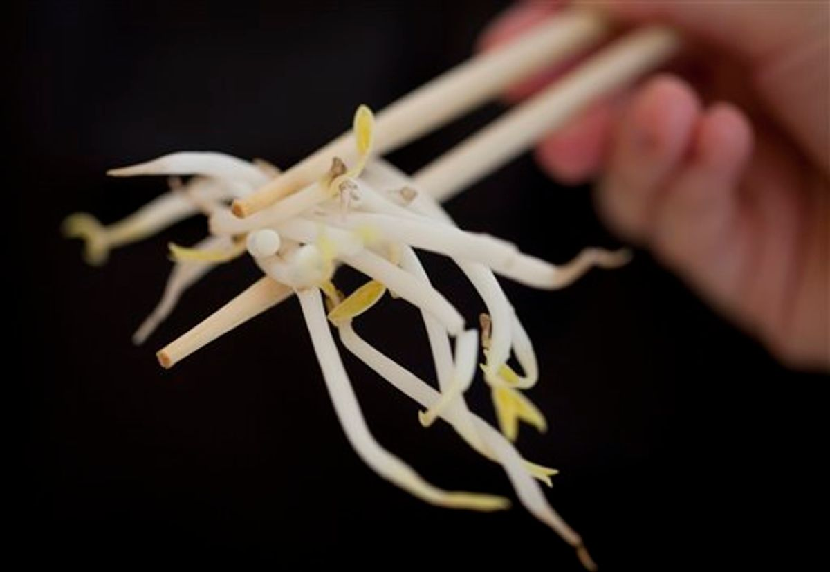 A woman holds bean sprouts with chopsticks in Berlin, Germany, Sunday, June 5, 2011. Health authorities say locally grown beansprouts in northern Germany have been identified as the likely cause of an outbreak of E. coli that has killed at least 22 people and sickened hundreds in Europe. (AP Photo/Gero Breloer)   (AP)
