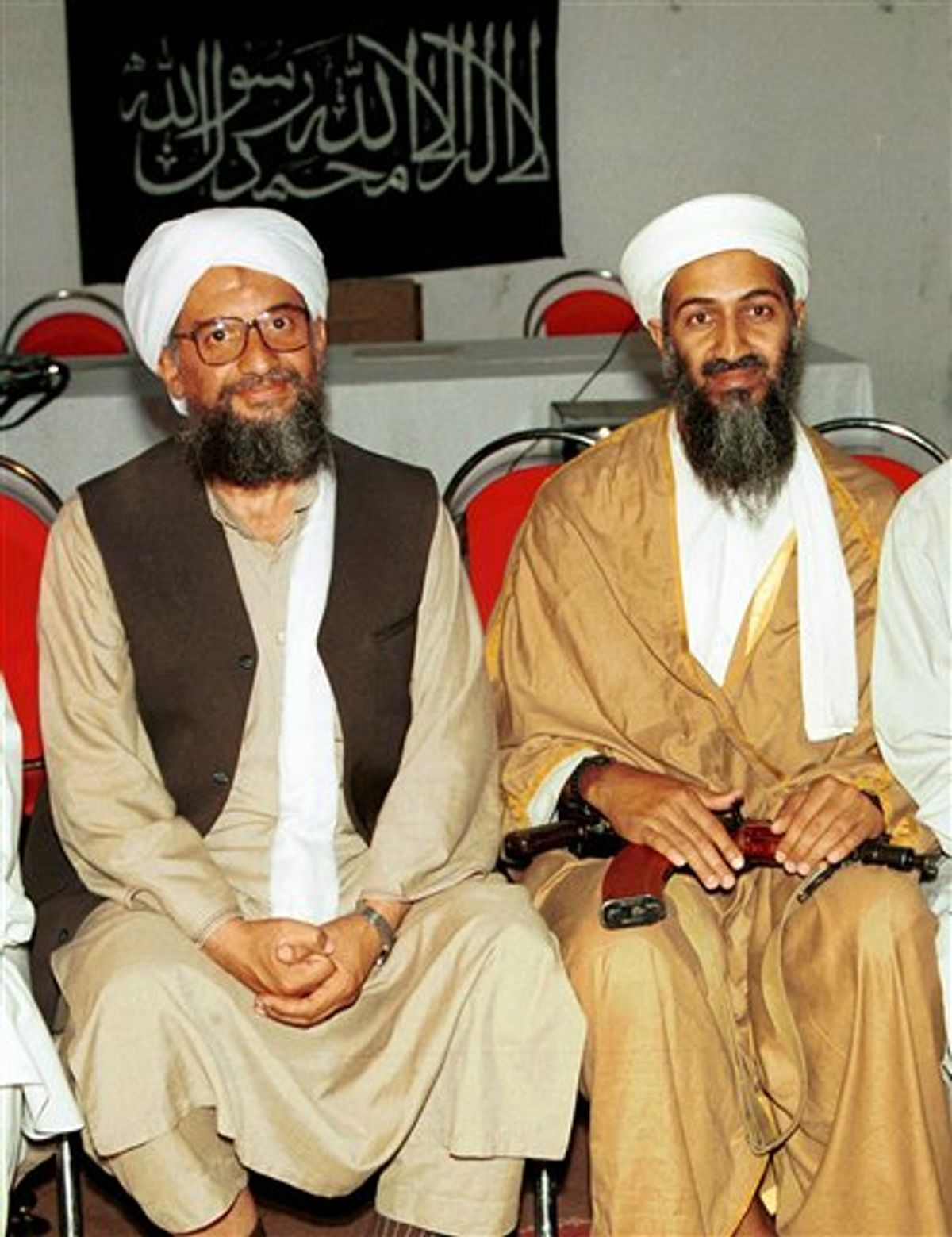 FILE - In this 1998 file photo made available Friday, March 19, 2004, Ayman al-Zawahri, left, poses for a photograph with Osama bin Laden, right, in Khost, Afghanistan. Al-Qaida has selected its longtime No. 2, Ayman al-Zawahri, to succeed Osama bin Laden following last month's U.S. commando raid that killed the terror leader, according to a statement posted Thursday, June 16, 2011 on a website affiliated with the network. (AP Photo/Mazhar Ali Khan, File) (AP)