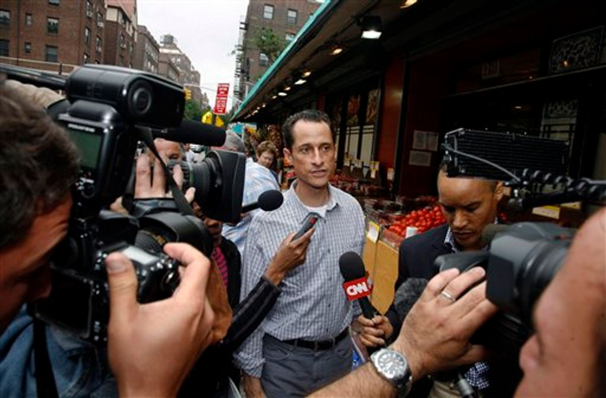 Rep. Anthony Weiner, D-N.Y., is questioned by the media near his home in the Queens borough of New York, Saturday, June  11, 2011. The 46-year-old congressman acknowledged Friday that he had online contact with a 17-year-old girl from Delaware but said there was nothing inappropriate. (AP Photo/David Karp) (AP)