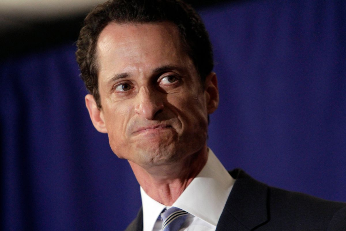 """U.S. Congressman Anthony Weiner, D-NY, addresses a news conference in New York,  Monday, June 6, 2011. After days of denials, a choked-up New York Democratic Rep. Anthony Weiner confessed Monday that he tweeted a bulging-underpants photo of himself to a young woman and admitted to """"inappropriate"""" exchanges with six women before and after getting married. (AP Photo/Richard Drew) (Richard Drew)"""
