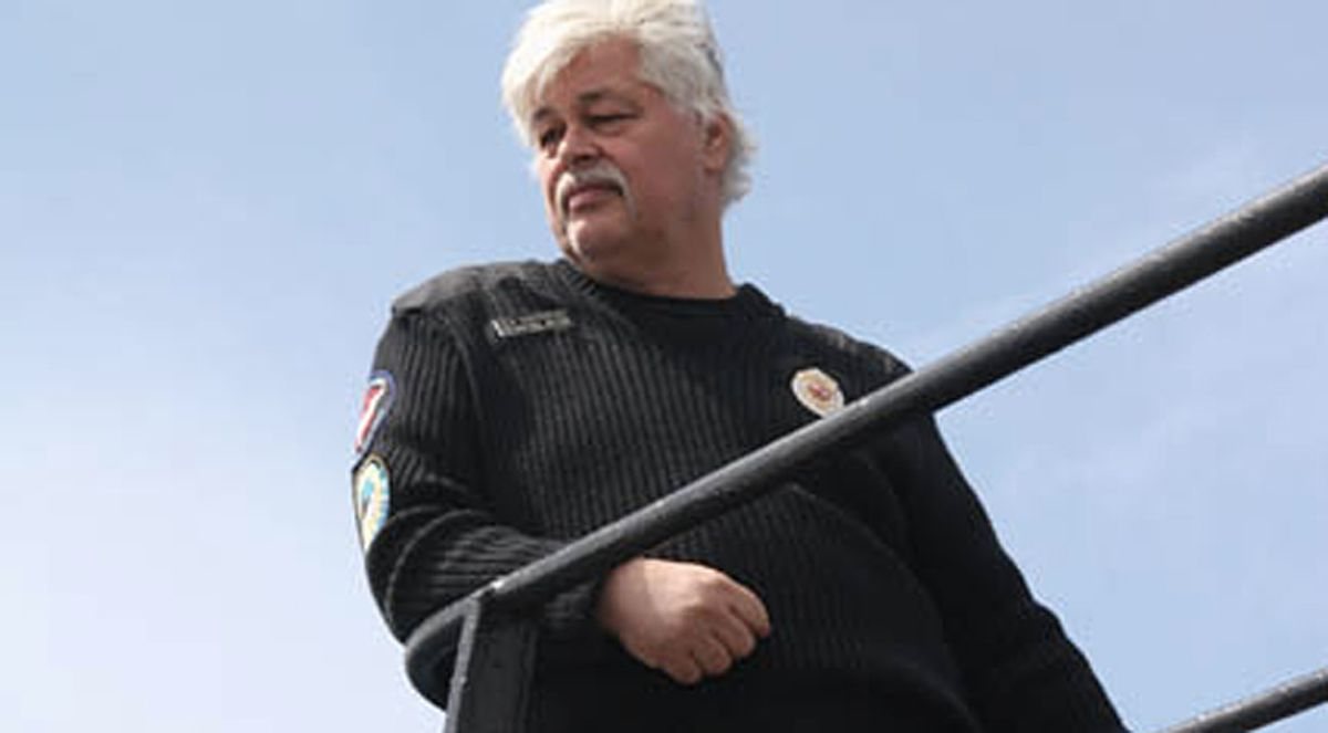 """The view from the bridge: Paul Watson, founder of the anti-whaling group Sea Shepherd Conservation Society, surveys his boat in the season premiere of Animal Planet's """"Whale Wars."""""""