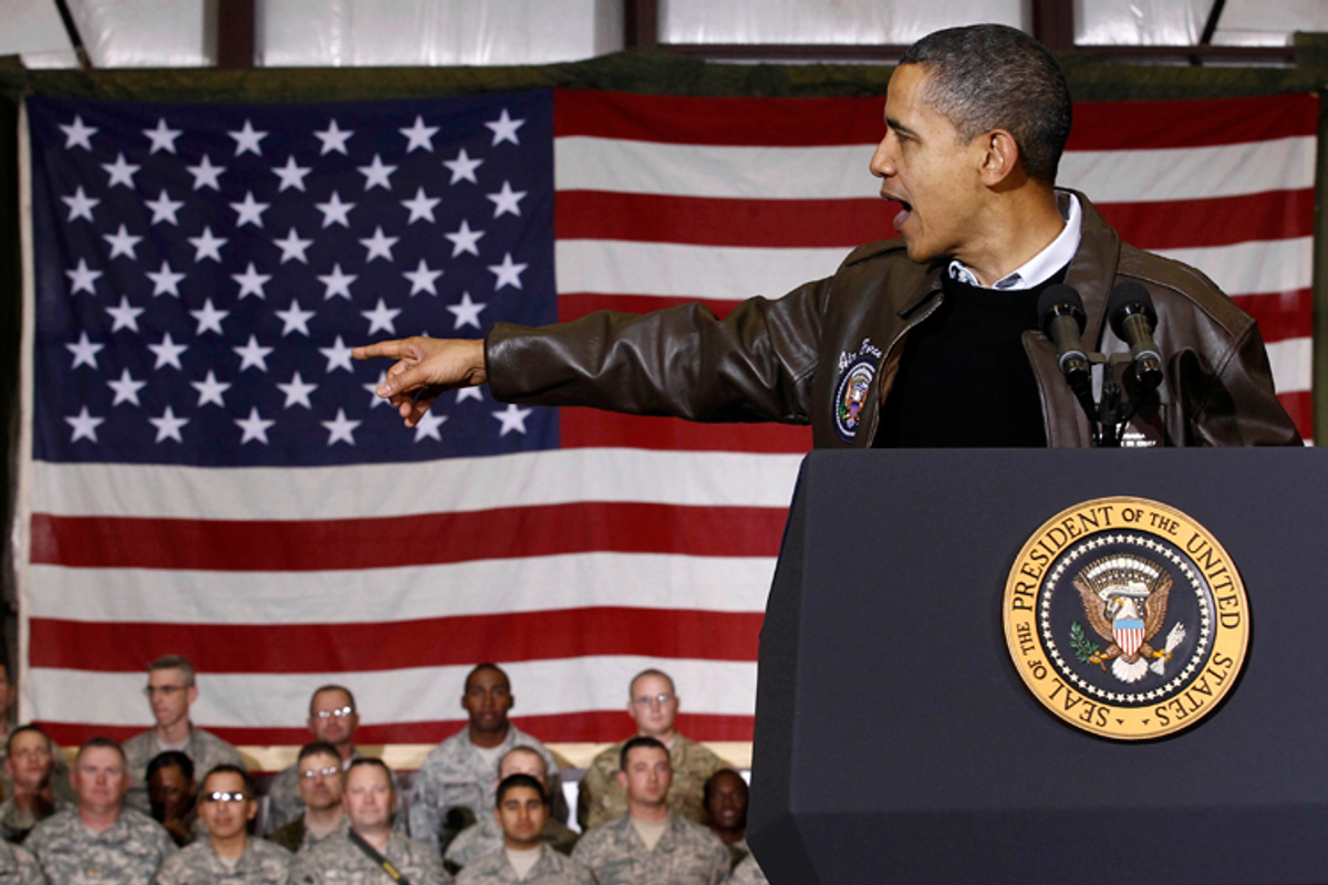 U.S. President Barack Obama meets with troops at Bagram Air Base, December 3, 2010.