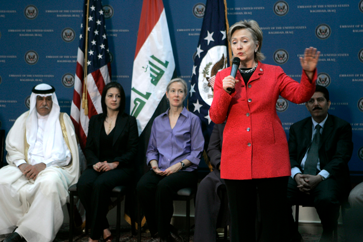 U.S. Secretary of State Hillary Rodham Clinton speaks at a meeting at the U.S. embassy in Baghdad, Iraq