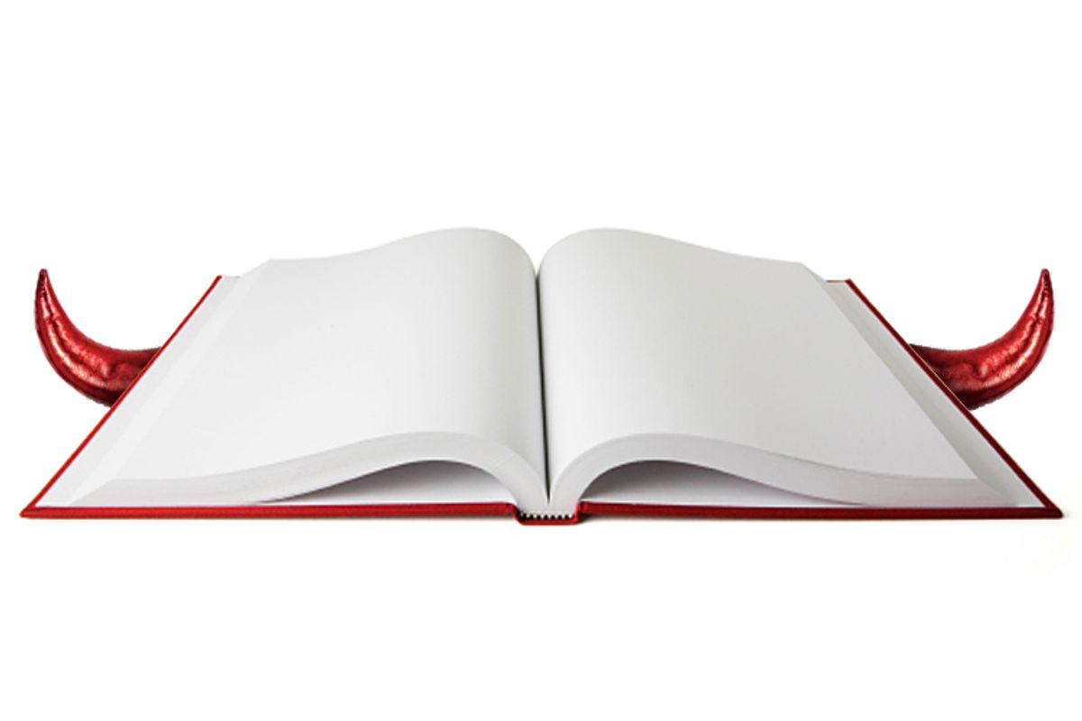Open book with blank white pages.  Clipping path included. (Bluestocking)